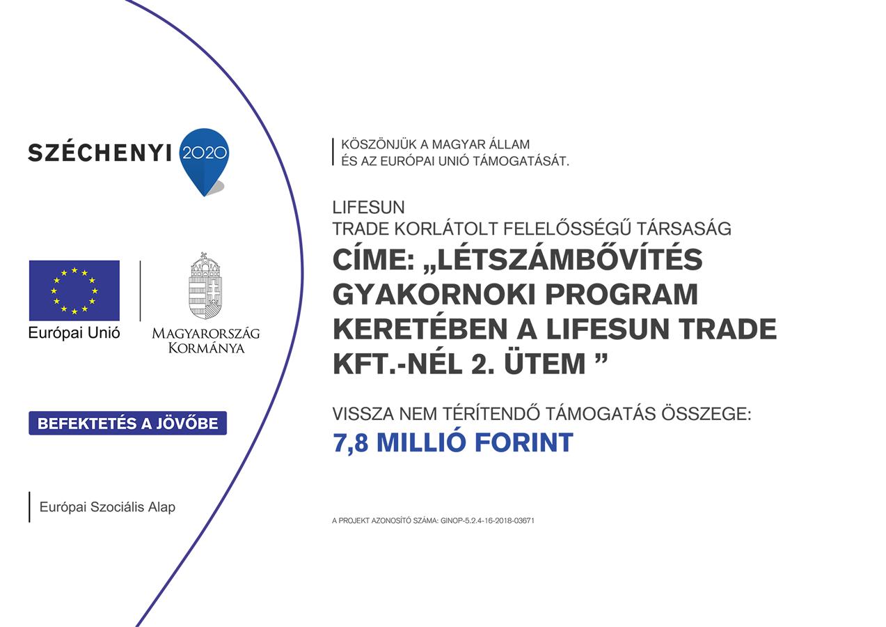 Létszámbővítés gyakornoki program keretében a Lifesun Trade Kft.-nél 2. ütem